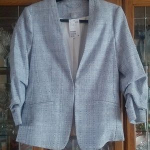 Light weight blue and white blazer